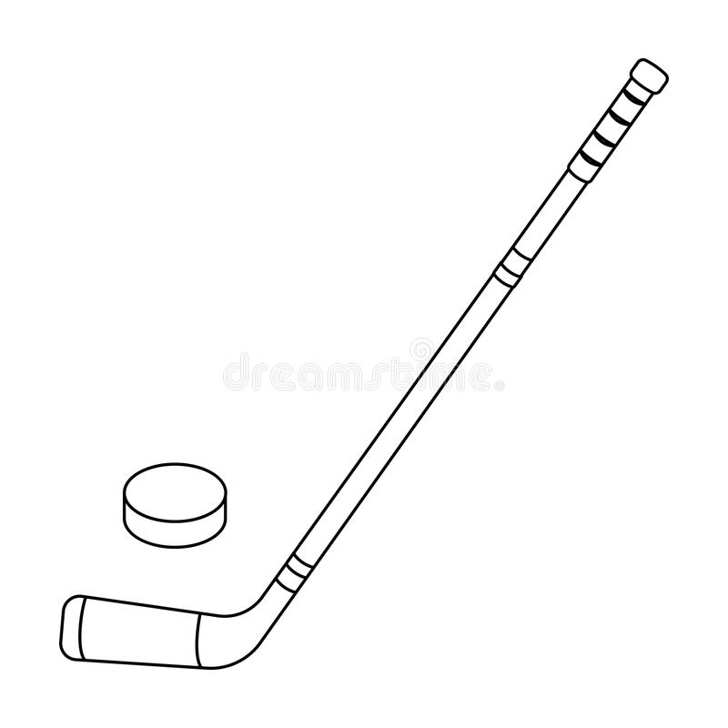 Hockey stick and washer. Canada single icon in outline style vector symbol stock illustration web. Hockey stick and washer. Canada single icon in outline style royalty free illustration
