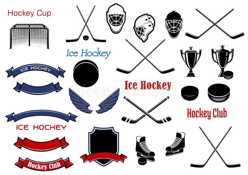 Hockey su ghiaccio e simboli o oggetti araldici royalty illustrazione gratis