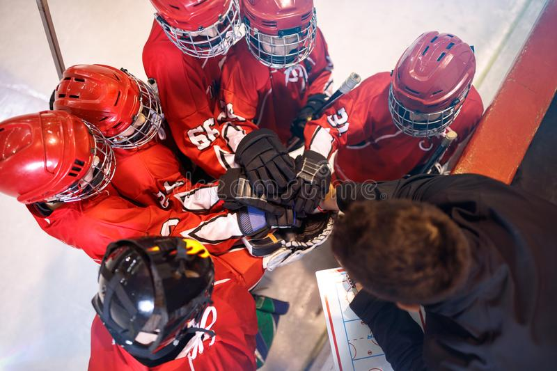 Hockey team together strong teamwork spirit. Concept royalty free stock photography