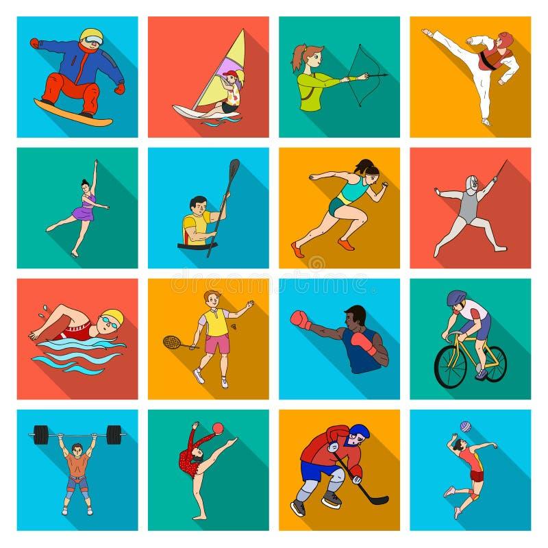 Hockey tennis som boxas sportar som är inklusive i OS:en Olympiska symboler för sportuppsättningsamling i plan stilvektor stock illustrationer