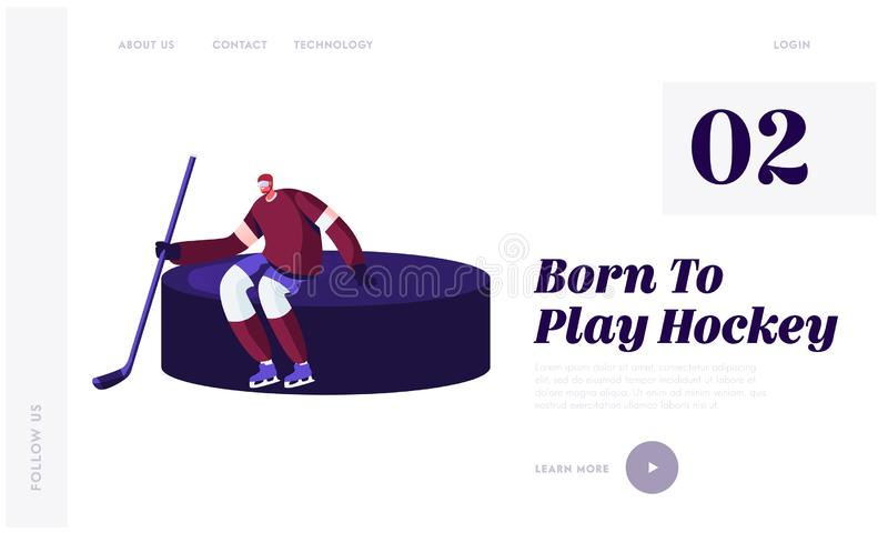 Hockey Tournament Website Landing Page. Athlete Sportsman in Uniform, Helmet, Skates with Equipment Holding Stick. Standing at Huge Puck during Game Web Page vector illustration