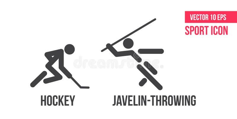 Hockey und speer-werpt tekenpictogram Reeks pictogrammen van de sporten vectorlijn atletenpictogram royalty-vrije illustratie