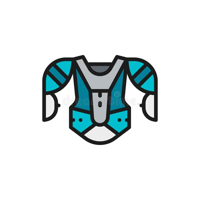 Hockey uniform, sports sweater, sweatshirt flat color line icon. vector illustration