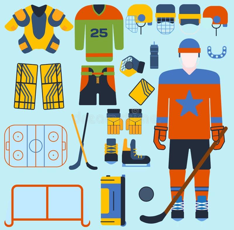 Hockey vector vastgestelde pictogrammen en speler vector illustratie