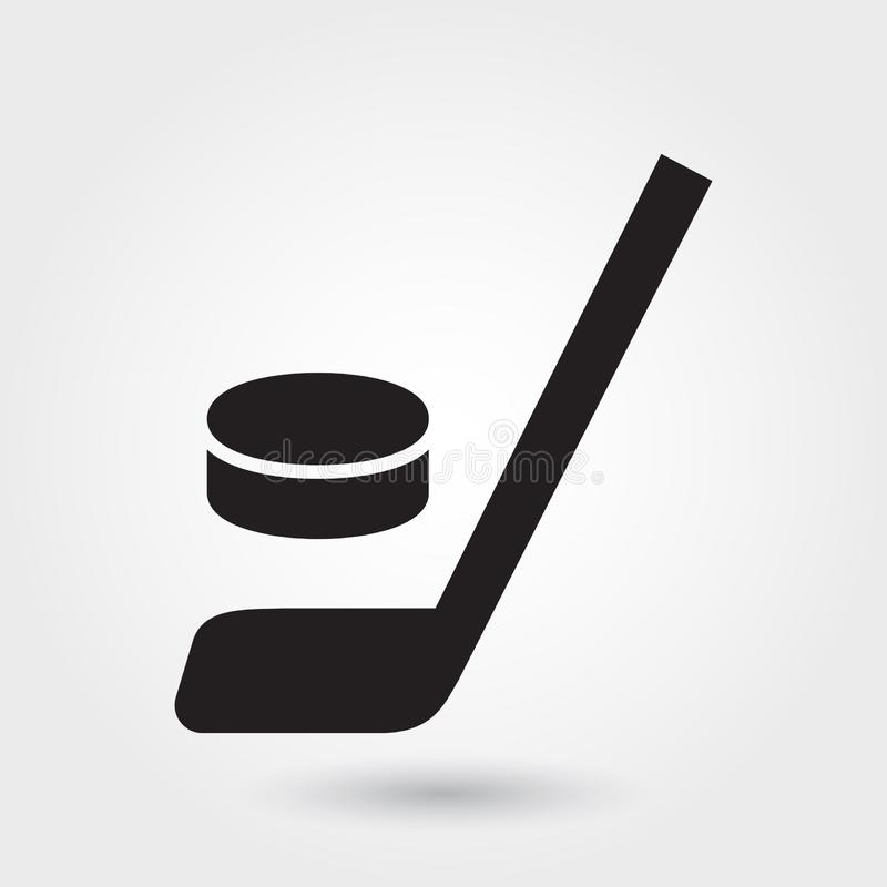 Hockey vectorpictogram, het pictogram van de Hockeystok, het symbool van de Hockeysport Moderne, eenvoudige glyph, stevige vector vector illustratie