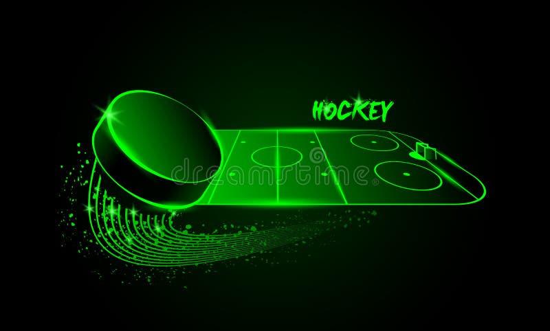 Hockeyarena en vliegende puck De stijl van het neon royalty-vrije illustratie