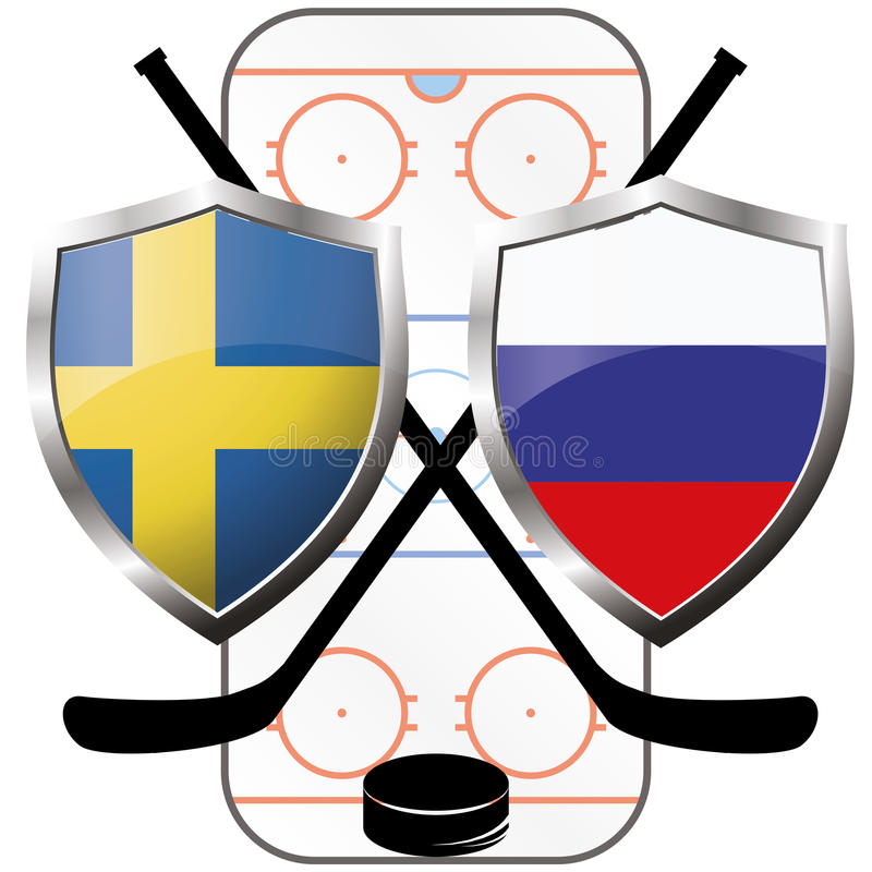 Hockeyembleem Canada versus Rusland vector illustratie
