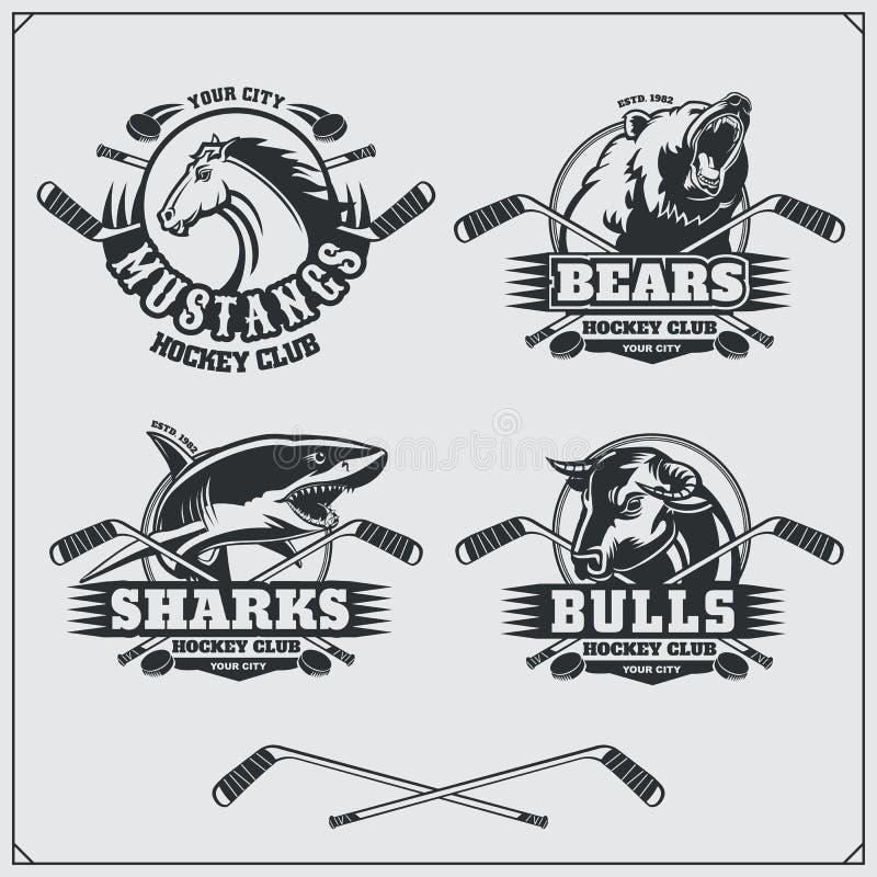 Hockeyemblem, etiketter och designbeståndsdelar Emblem för sportklubba med björnen, hajen, tjuren och hästen vektor illustrationer