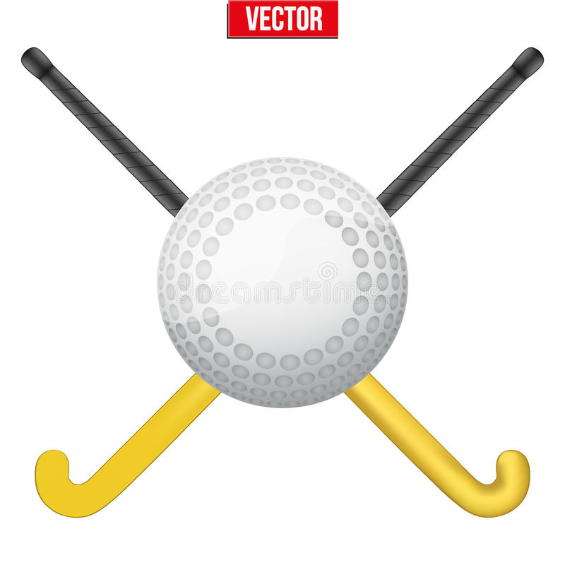 Hockeyfältboll och pinnar vektor stock illustrationer