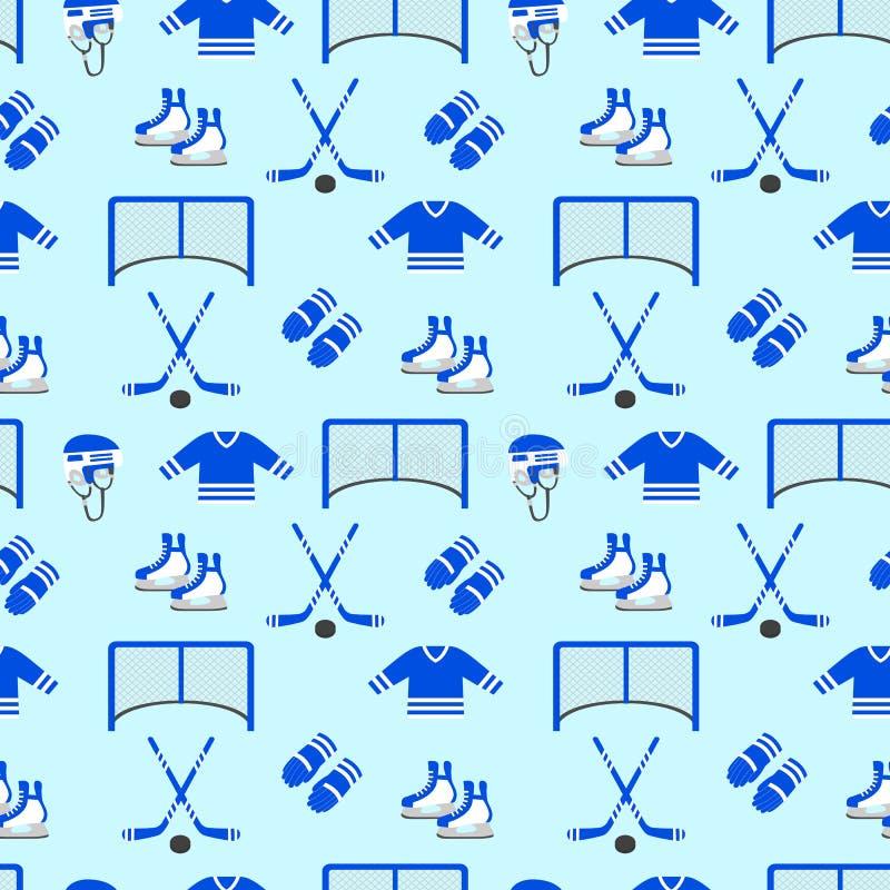 Hockeyhintergrund Vector nahtloses Muster Männer ` s Eishockeyausrüstung wiederholte Beschaffenheit Wintersportdesigne, Kleidung vektor abbildung