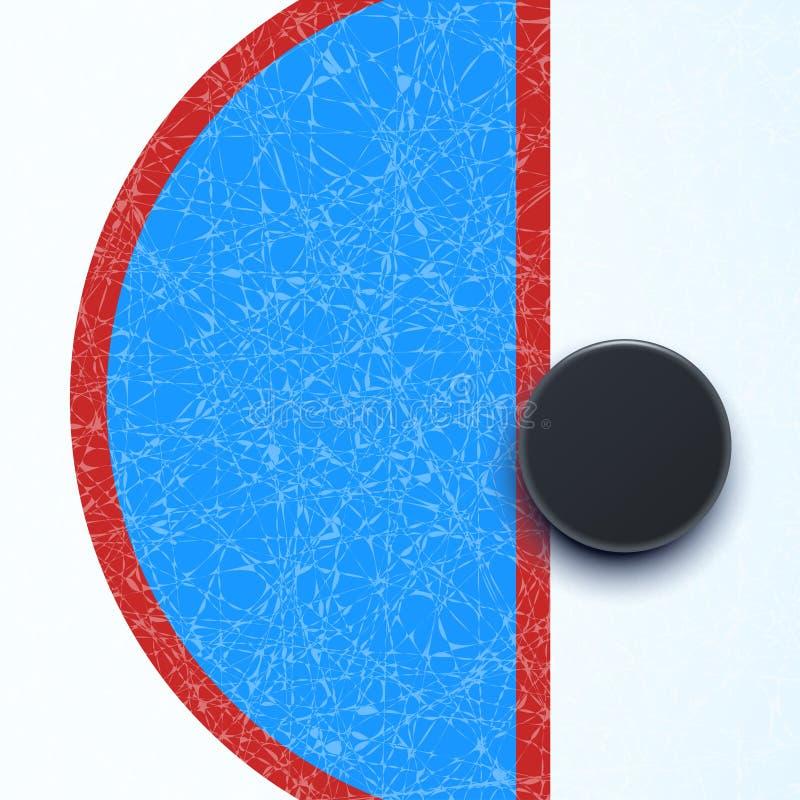 Hockeyisbana med pucken royaltyfri illustrationer