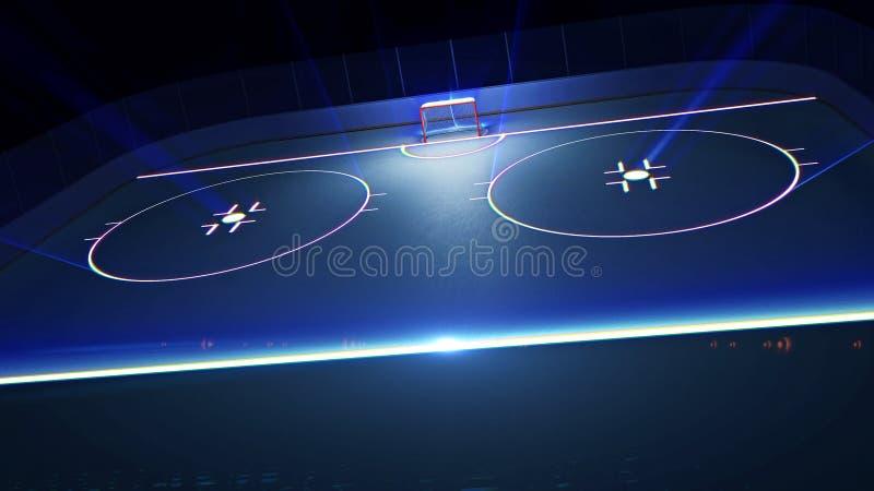 Hockeyisisbana och mål royaltyfri illustrationer