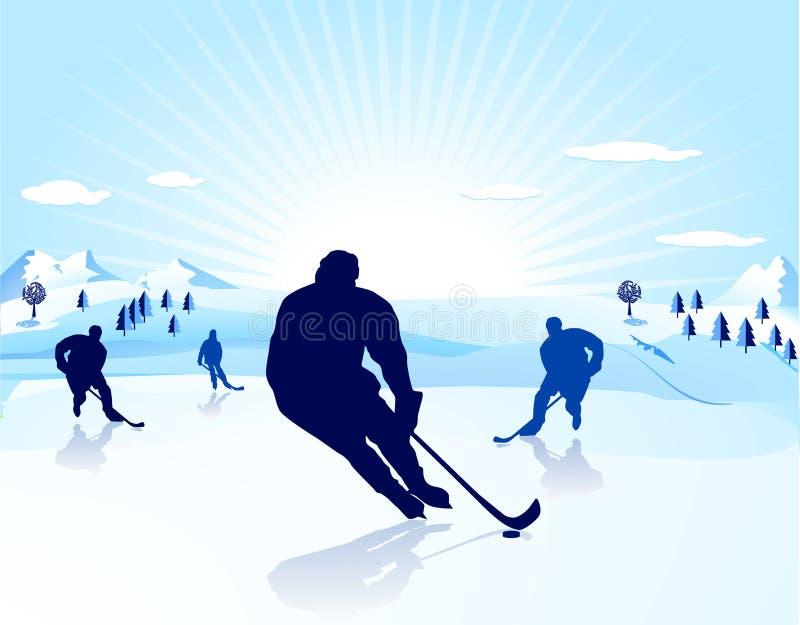 hockeyisspelare vektor illustrationer
