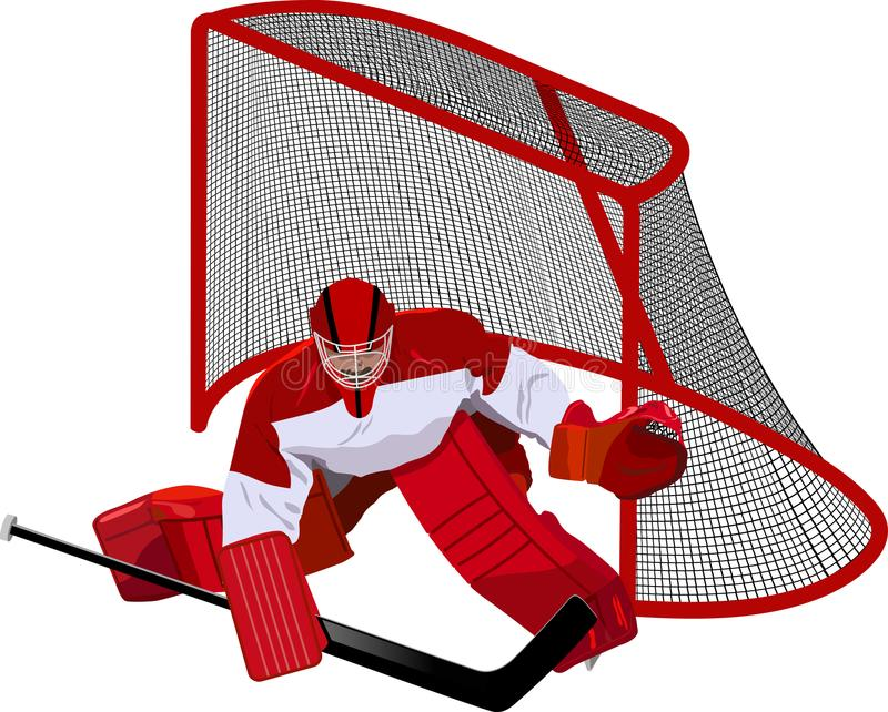Hockeykeeper in het spel royalty-vrije illustratie