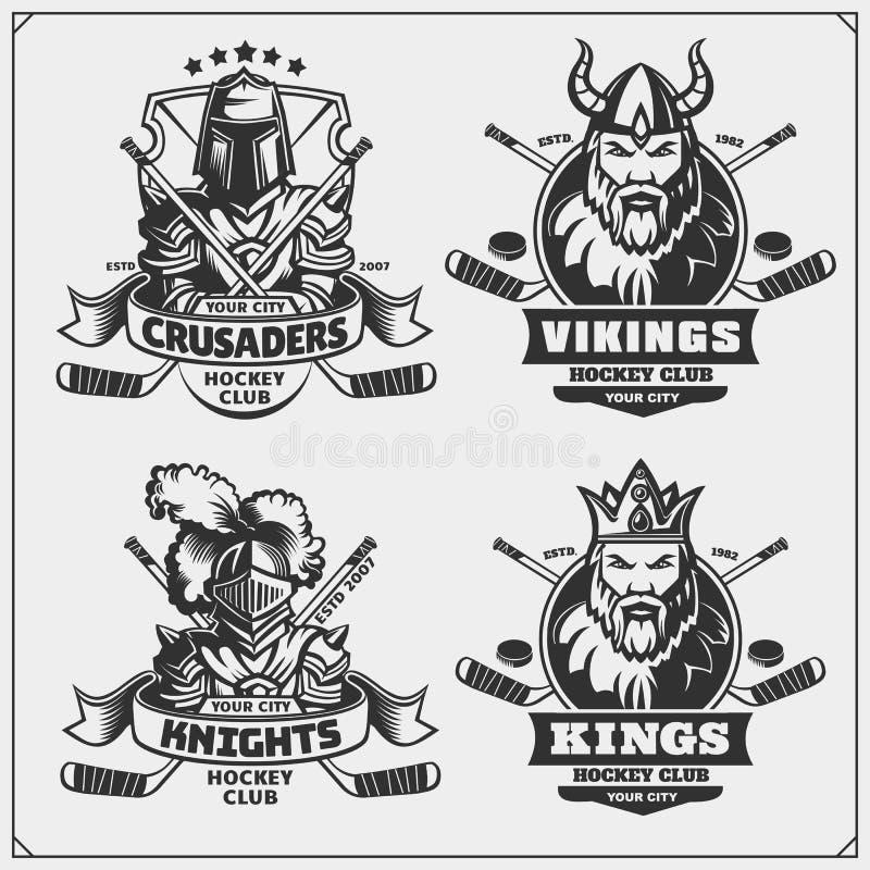 Hockeykentekens, etiketten en ontwerpelementen De emblemen van de sportclub met kruisvaarder, koning, ridder en Viking stock illustratie
