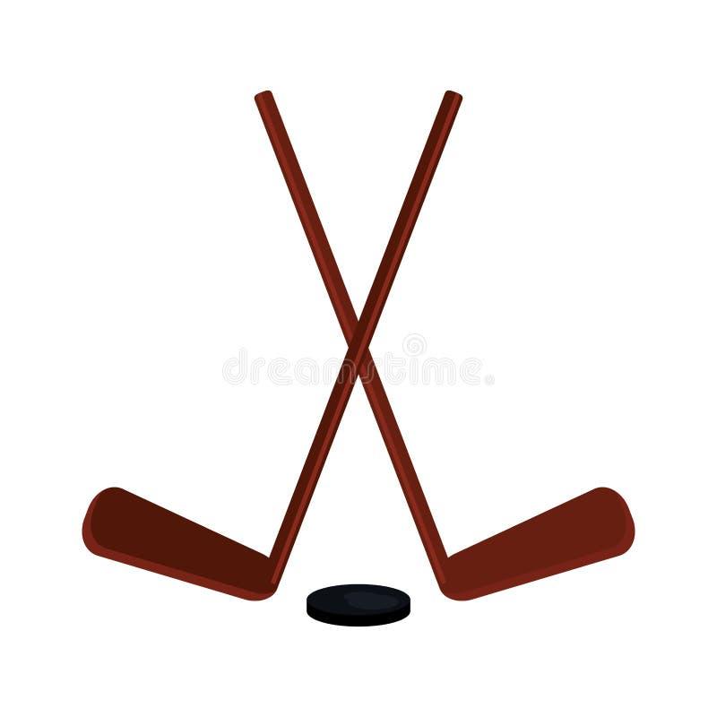 Hockeyklubbor och puck vektor illustrationer