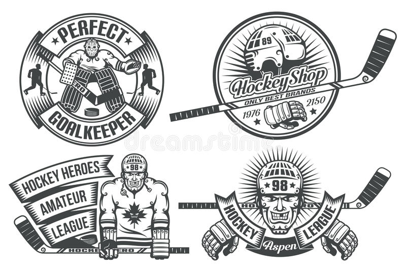 Hockeylogo royaltyfri illustrationer