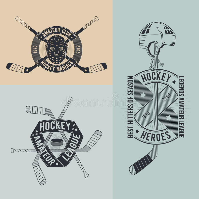 Hockeylogo stock illustrationer