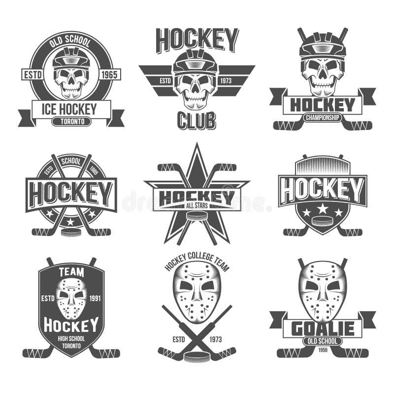 Hockeylogouppsättning stock illustrationer
