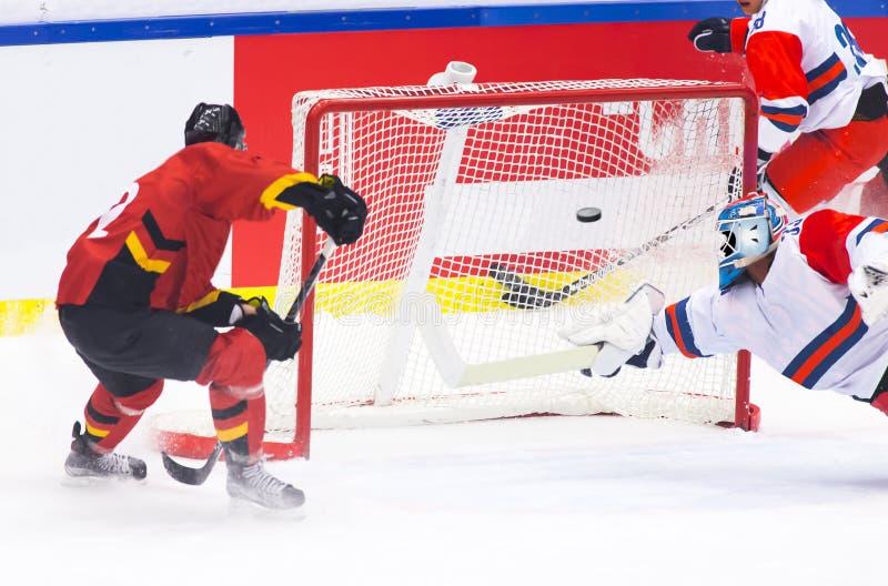 Hockeymål fotografering för bildbyråer