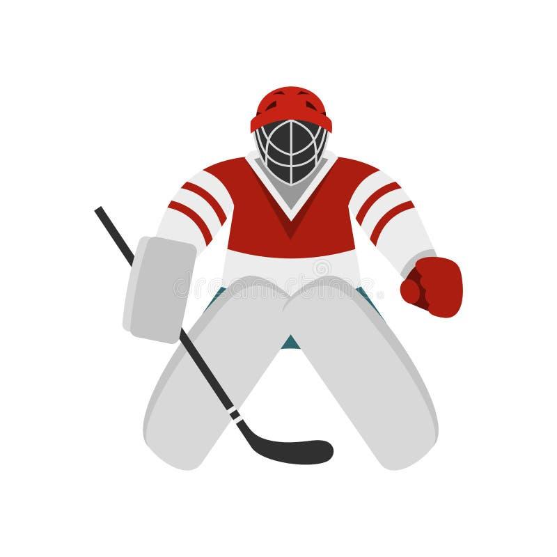 Hockeymålvaktsymbol, lägenhetstil royaltyfri illustrationer