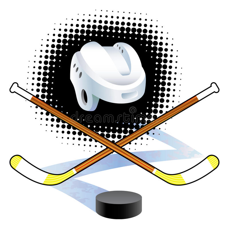 Hockeypinnar och puck. stock illustrationer