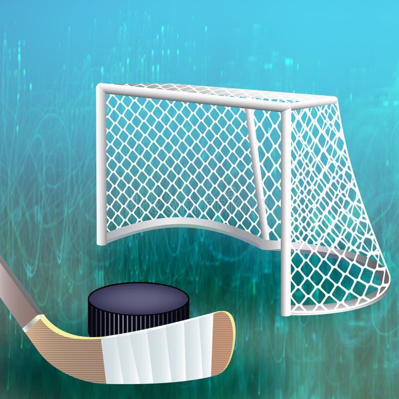 Hockeypuck dicht bij doel stock illustratie