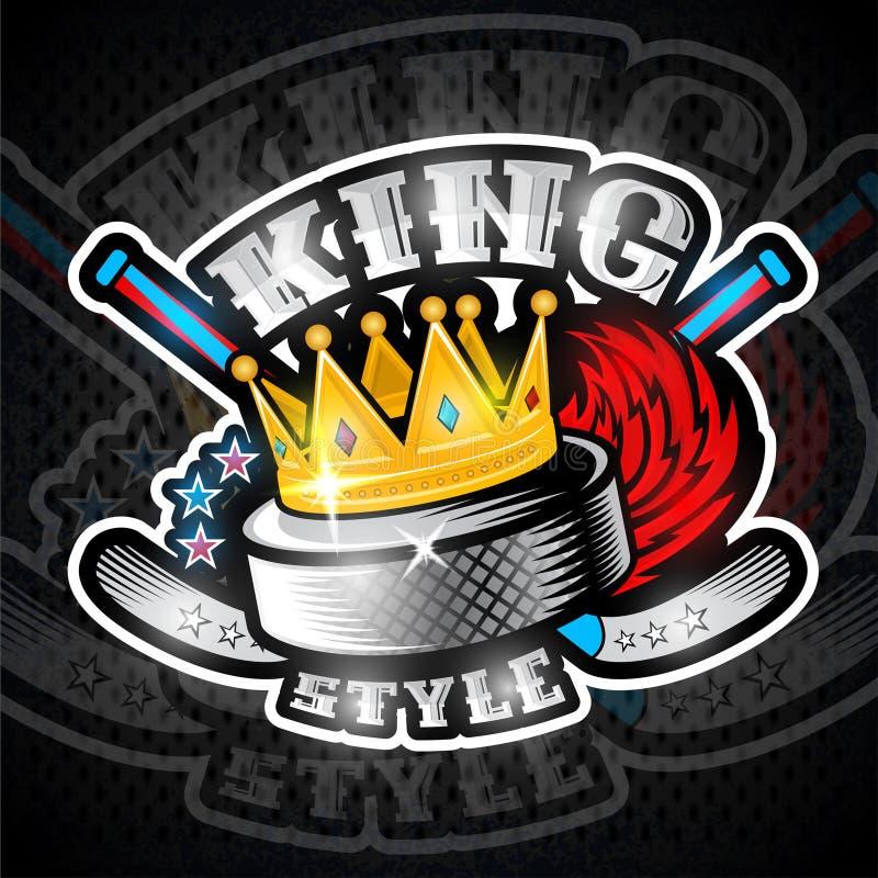 Hockeypuck in kroon met brandsleep en van het kruisenhockey stok Sportembleem voor om het even welk team royalty-vrije illustratie