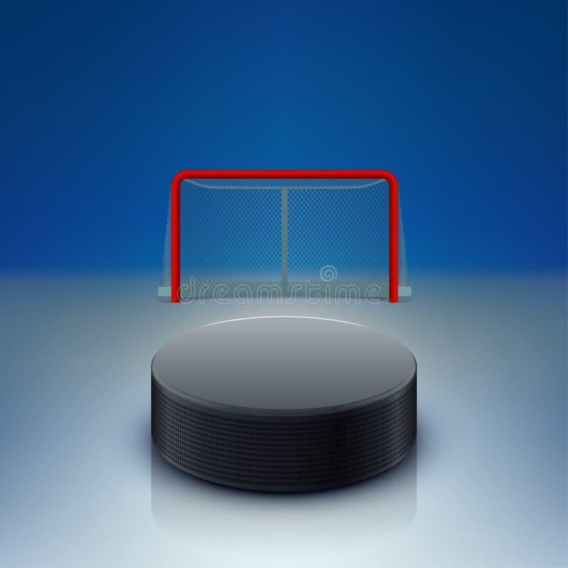 Hockeypuck och portar vektor illustrationer