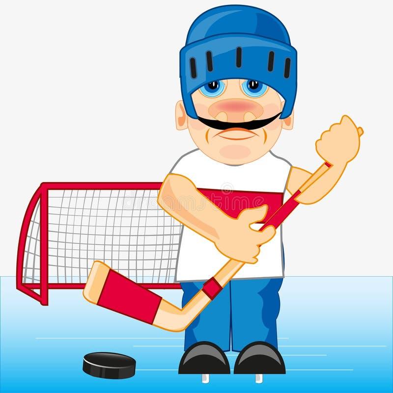 Hockeyspelare på stadion stock illustrationer