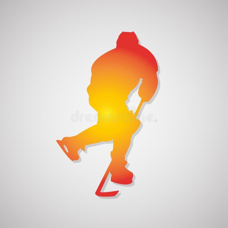 Hockeyspelarekontur med skugga i apelsin också vektor för coreldrawillustration royaltyfri illustrationer