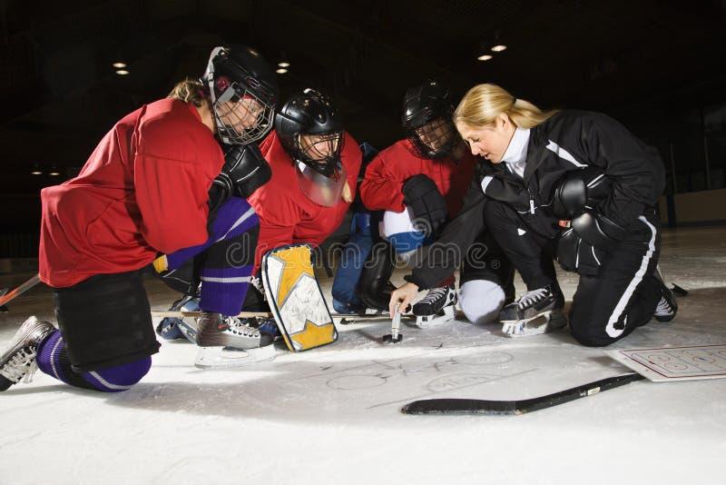 hockeyspelarekvinnor royaltyfria bilder
