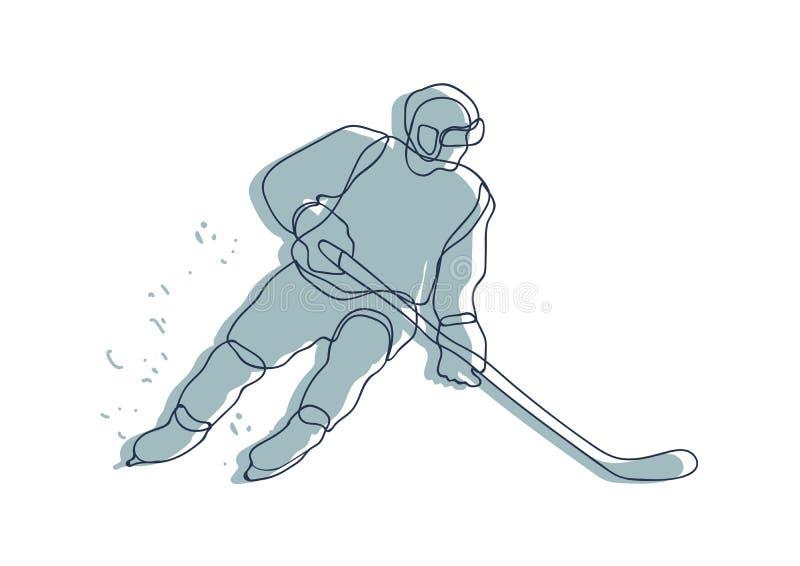 Hockeyspelarelinje teckning man som är klar för ett skott vektor illustrationer