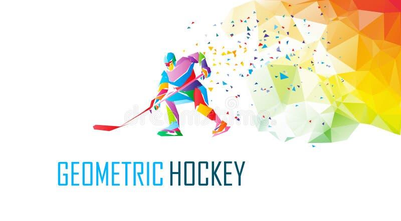 Hockeyspielerschattenbild, polygonale Vektorillustration Niedriger Polyeishockeyschlittschuhläufer mit Kobold vektor abbildung