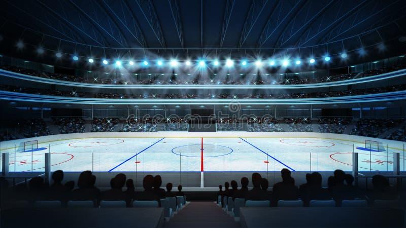 Hockeystadion med fans och en tom isisbana royaltyfri illustrationer