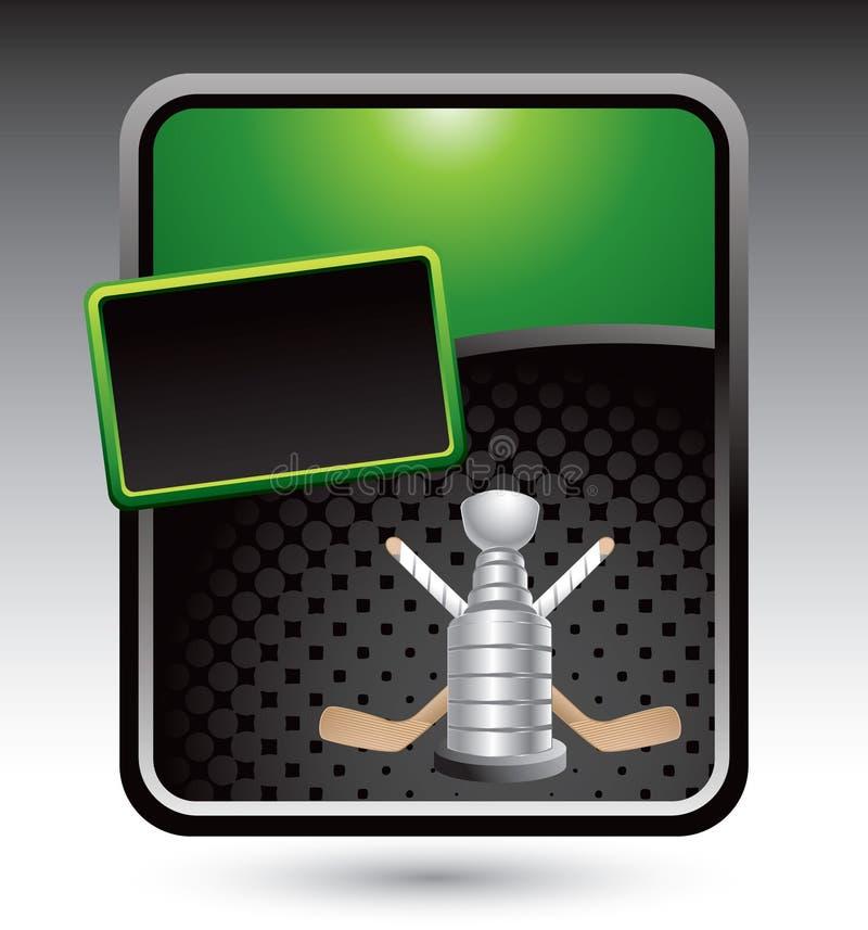 Hockeysteuerknüppel und Trophäe auf grüner Reklameanzeige vektor abbildung