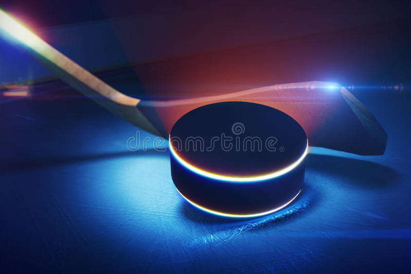 Hockeystok en Puck op de Ijsbaan vector illustratie
