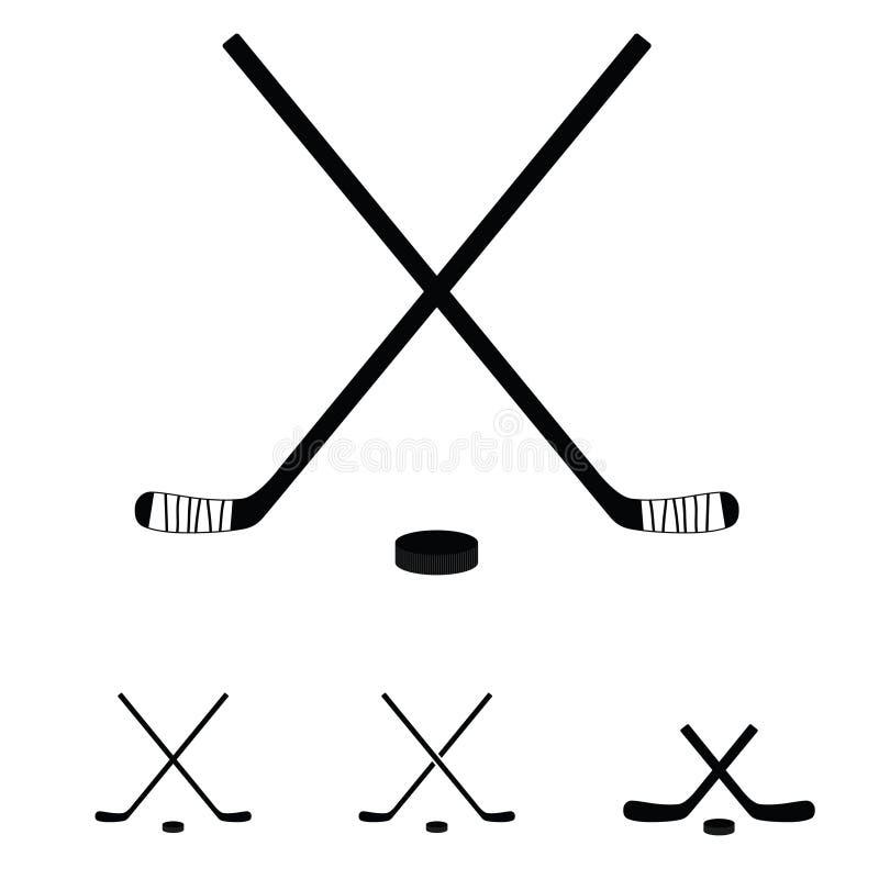 Hockeystokken geplaatst pictogramillustratie stock afbeeldingen