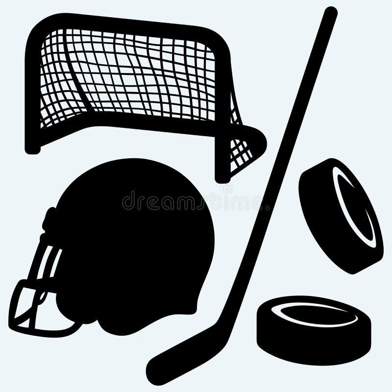 Hockeysymbol pinne, puck, hockeyportar och hjälm stock illustrationer