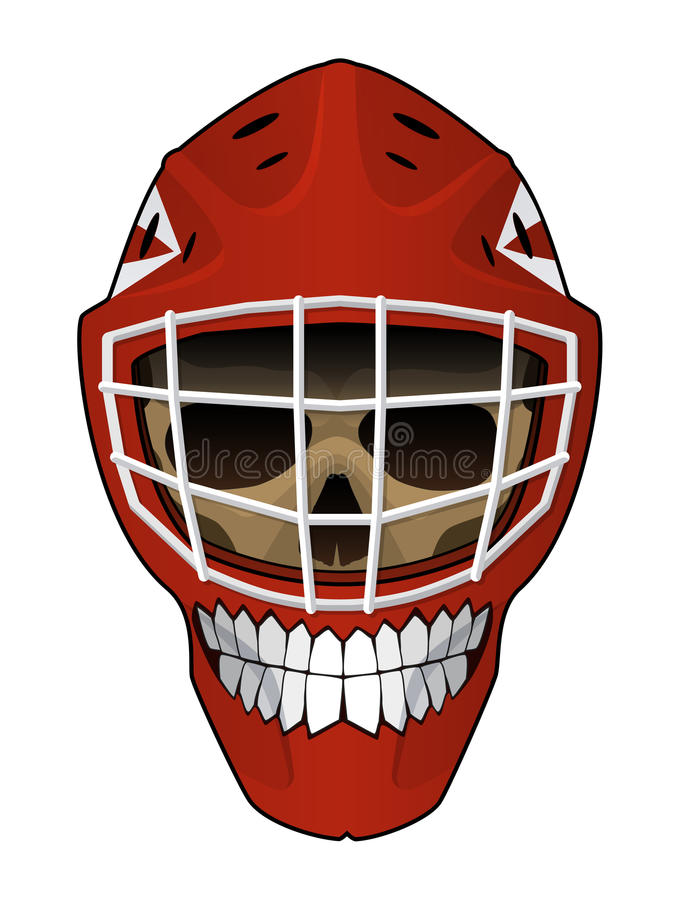 Hockeytormannsturzhelm mit schlechtem Gesicht insideHockey Tormannsturzhelm mit Scull nach innen lizenzfreie abbildung