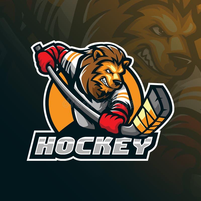 Hockeyvektormaskottchen-Logoentwurf mit moderner Illustrationskonzeptart für Ausweis-, Emblem- und Shirt-Drucken verärgertes Löwe vektor abbildung