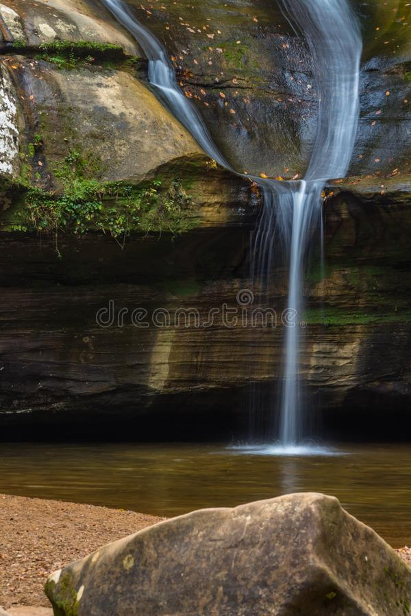 Cedar Falls in Hocking Ohio. Hocking Hills Waterfall in Forest with Rocky Cliff stock photos