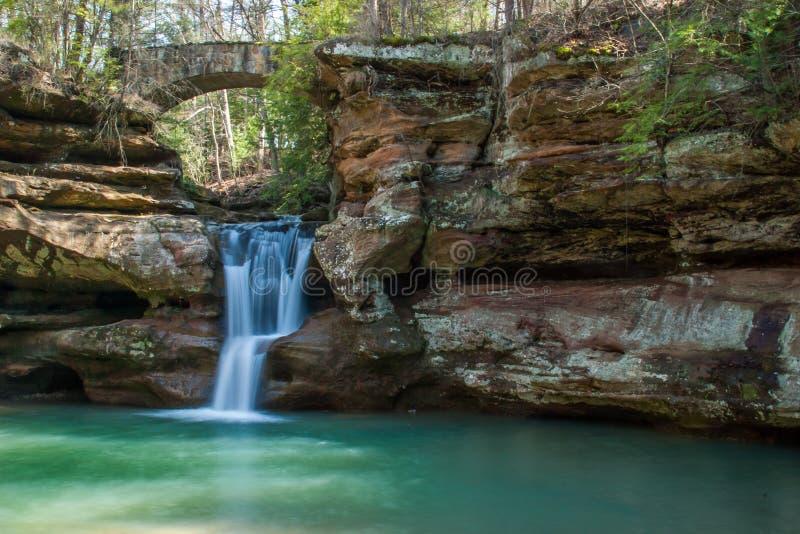 Hocking kulledelstatspark i Ohio den härliga vattenfallet arkivfoto