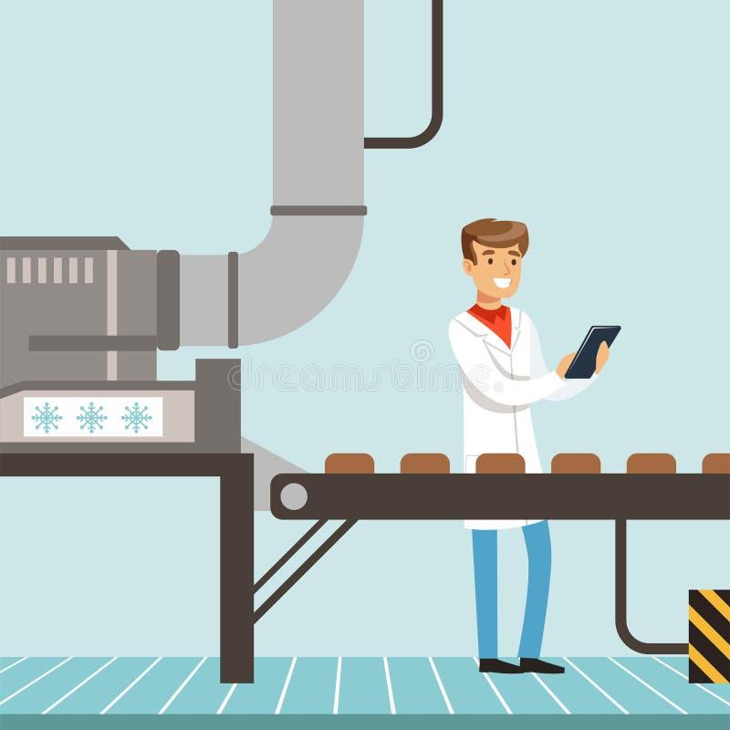 Hocolate工厂生产线,拿着剪贴板和控制生产过程传染媒介的公控制器 库存例证