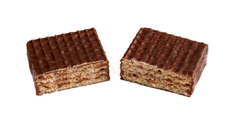 Hocolate γκοφρέτες Ð ¡ Εύγευστος φραγμός σοκολάτας κομματιών η τομή σοκολάτας καραμελών ανασκόπησης απομόνωσε το λευκό στοκ εικόνες με δικαίωμα ελεύθερης χρήσης