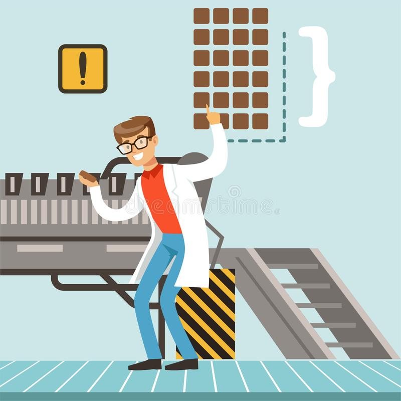 hocolate Fabrikfertigungsstraße, männlicher Konditor, der die Produktionsverfahrenvektor Illustration steuert lizenzfreie abbildung