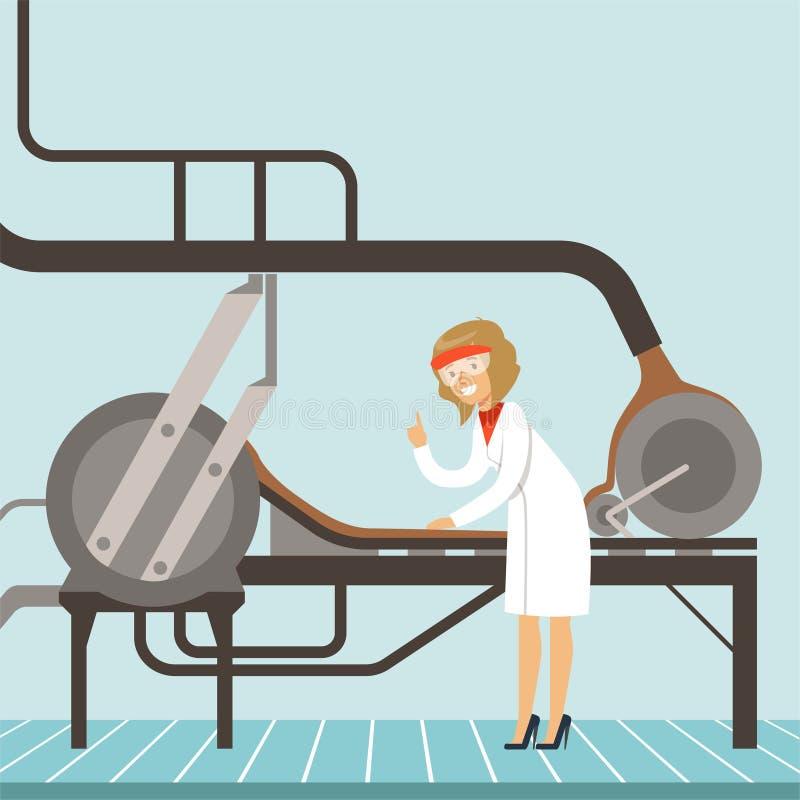 hocolate Fabrikfertigungsstraße, weiblicher Konditor, der die Produktionsverfahrenvektor Illustration steuert lizenzfreie abbildung