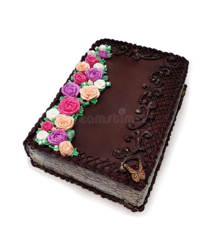 Hocolate kaka i formen av en bok royaltyfri foto