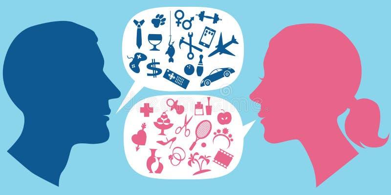 Hoe de mannen en de vrouwen communiceren royalty-vrije illustratie