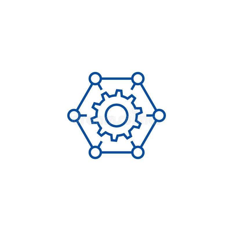 Hoe het werkt, past, het pictogramconcept van de montageslijn aan Hoe het werkt, past, montages vlak vectorsymbool, teken, overzi stock illustratie